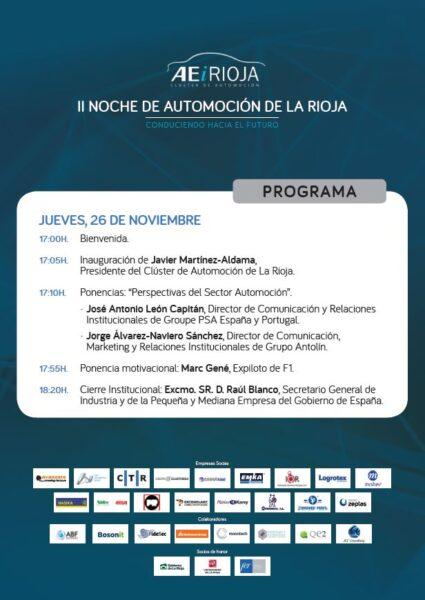 Programa II Noche de Automoción de La Rioja